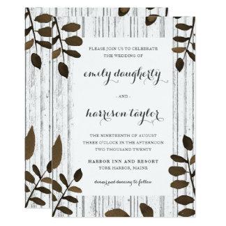Cartão Folhas botânicas rústicas e casamento de madeira