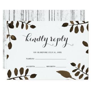 Cartão Folhas botânicas rústicas e RSVP Wedding de