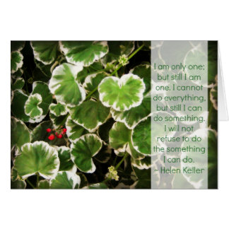 Cartão Folhas & citações de Helen Keller