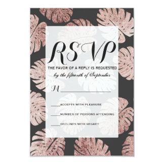 Cartão Folhas cor-de-rosa elegantes chiques da planta do