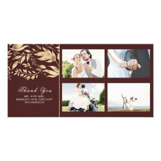 Cartão Folhas da queda do ouro e da Borgonha que Wedding