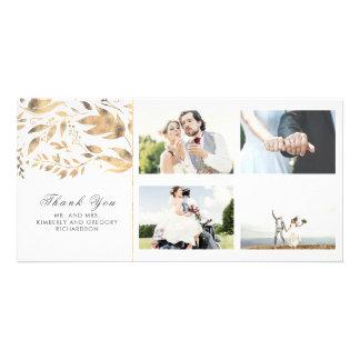 Cartão Folhas da queda do ouro e do branco que Wedding o