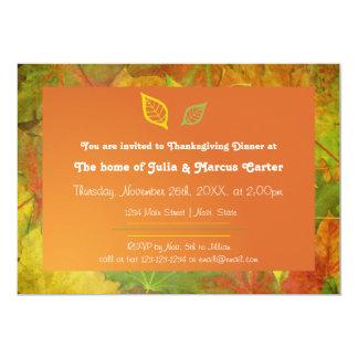 Cartão Folhas da queda - o comensal da acção de graças
