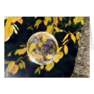 Cartão Folhas de outono refletidas
