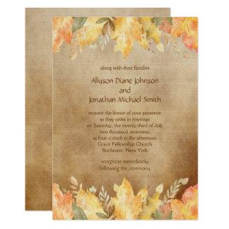 Cartão Folhas de outono rústicas da aguarela #2 que