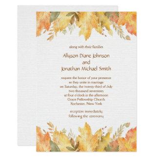 Cartão Folhas de outono rústicas da aguarela que Wedding