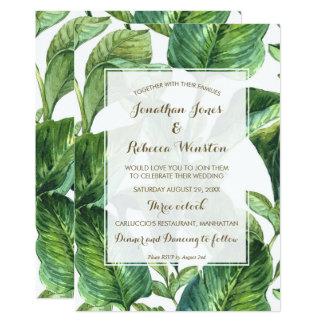 Cartão folhas de palmeira botânicas tropicais que wedding