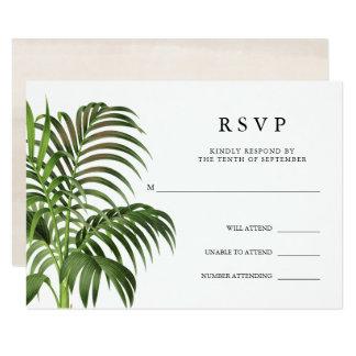 Cartão Folhas de palmeira elegantes do vintage | RSVP