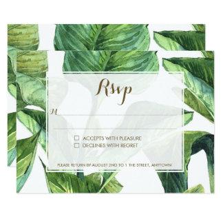 Cartão folhas de palmeira tropicais botânicas que wedding