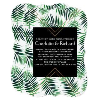 Cartão Folhas de palmeira tropicais da ilha que Wedding