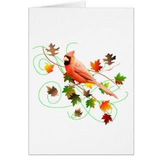 Cartão Folhas do cardeal & da queda