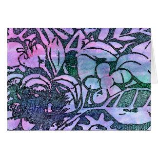 Cartão Folhas e flores cinzeladas mão - na lavanda
