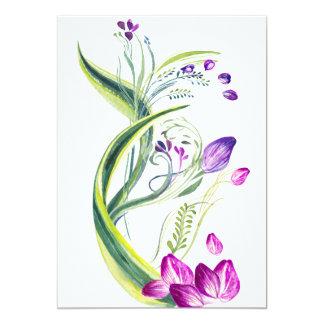 Cartão Folhas e flores tropicais