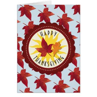 Cartão Folhas felizes do céu e da queda da acção de