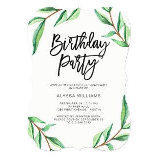 Cartão Folhas minimalistas do verde na festa de