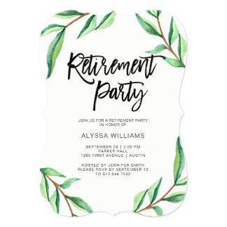 Cartão Folhas minimalistas do verde no partido de