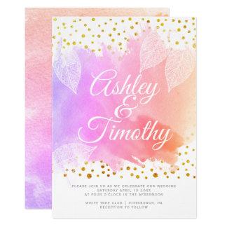 Cartão Folhas no carro cor-de-rosa do casamento da