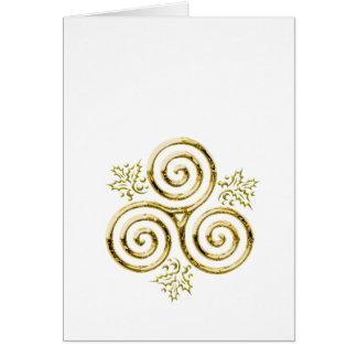 Cartão Folhas triplas douradas da espiral & do azevinho