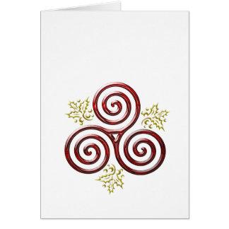 Cartão Folhas triplas vermelhas da espiral & do azevinho