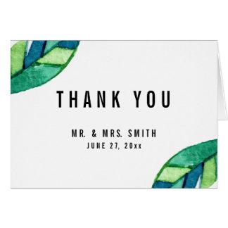 Cartão Folhas tropicais que Wedding o obrigado você