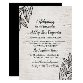 Cartão Folhas & vidoeiro - celebração do memorial da vida