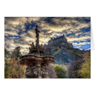 Cartão Fonte de Ross e castelo de Edimburgo