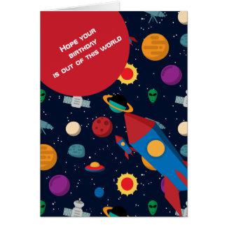 Cartão Fora deste aniversário de Rocket do mundo