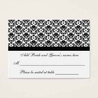 Cartão formal branco e preto do damasco do assento