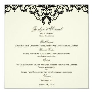 Cartão formal do menu do casamento tema damasco convite quadrado 13.35 x 13.35cm