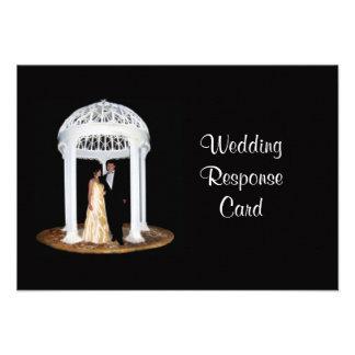 Cartão formal do rsvp do casamento preto convite