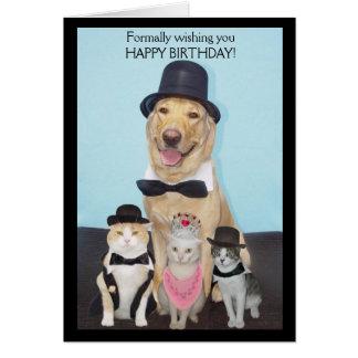 Cartão Formalmente desejando lhe o feliz aniversario
