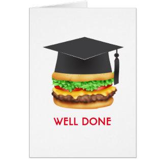 Cartão Formando bem cozido dos parabéns do hamburguer