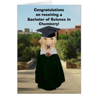Cartão Formando engraçado da química do laboratório