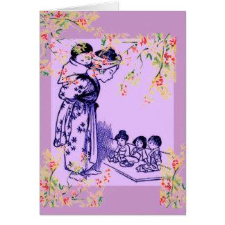 Cartão Formas do japonês do vintage