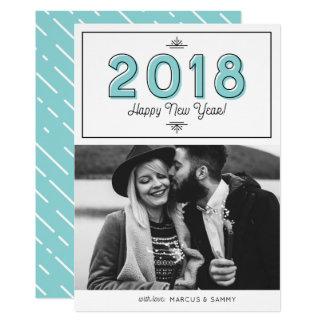 Cartão Foto 2018 retro azul do feliz ano novo da