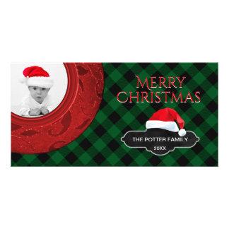 Cartão Foto acolhedor do feriado do papai noel do
