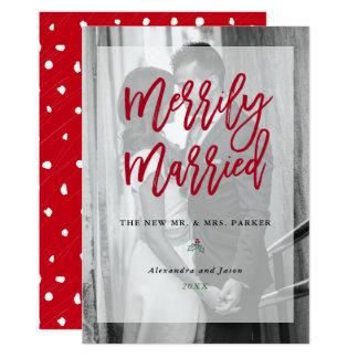 Cartão Foto alegre casada com vermelho da folha de prova