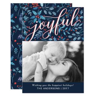 Cartão Foto alegre do feriado da folha da aguarela do