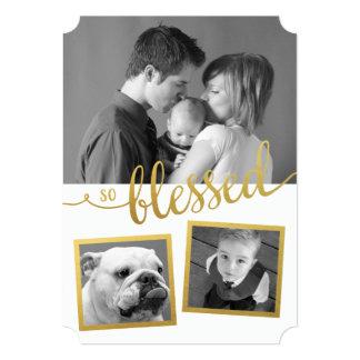 Cartão Foto assim abençoada do costume 3 da folha de ouro
