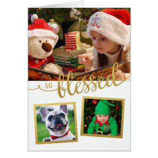 Cartão Foto assim abençoada do feriado da folha de ouro