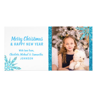Cartão FOTO azul do brilho | dos flocos de neve do Feliz