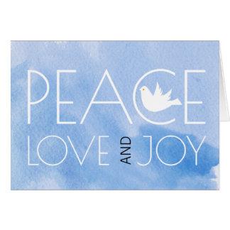 Cartão Foto azul do Natal da aguarela do amor e da