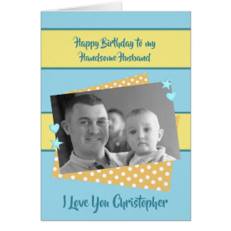 Cartão Foto azul e amarela do marido do feliz aniversario