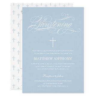 Cartão Foto azul elegante do baptismo do batismo |