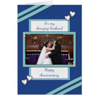 Cartão Foto azul personalizada do aniversário do marido
