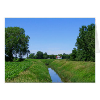 Cartão Foto bonita da vala de irrigação da fazenda de