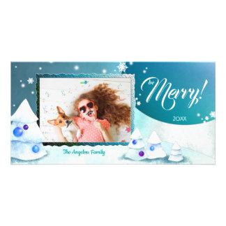 Cartão Foto bonito do feriado do Merriment do inverno