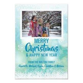 Cartão FOTO branca azul do ano novo | do Natal da neve