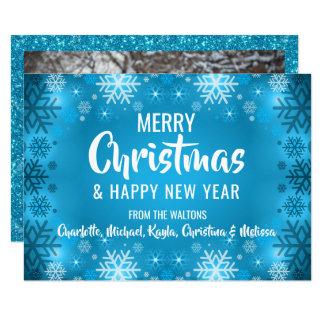 Cartão FOTO branca azul feita sob encomenda do Natal | do