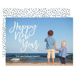 Cartão Foto branca do feliz ano novo do roteiro da escova